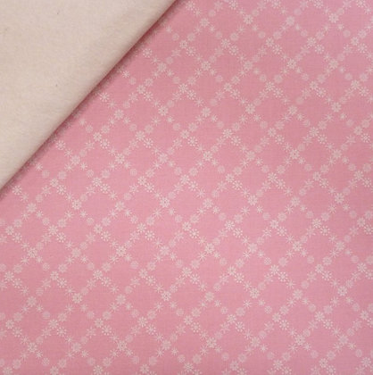Fabric Felt :: A Winter Tale :: Snowflakes Pink on Natural