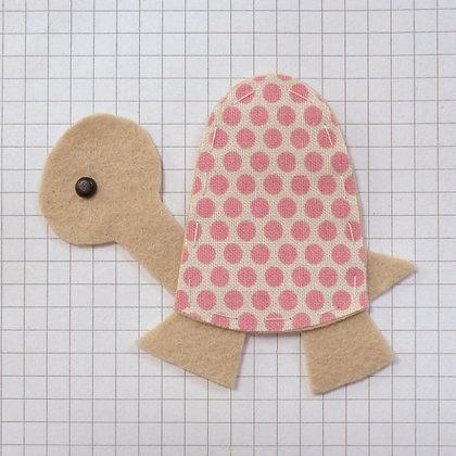 Pink Dot on Natural :: Tortoise :: Handmade Embellishment
