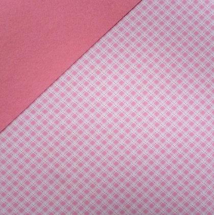 Fabric Felt :: Pale Pink Diagonal Gingham on Pink