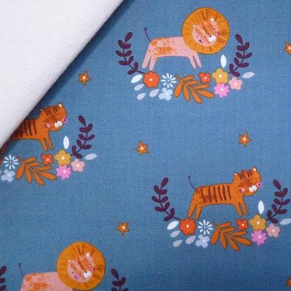 Fabric Felt :: Meadow Safari :: Teal Lions & Tigers on Natural