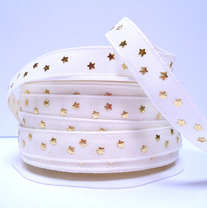 Cotton & Stars Ribbon :: Cream + Gold Stars