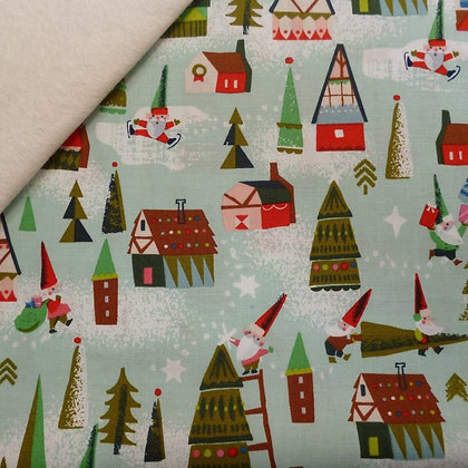 Fabric Felt :: Way Up North :: Elf Houses Mint on Natural