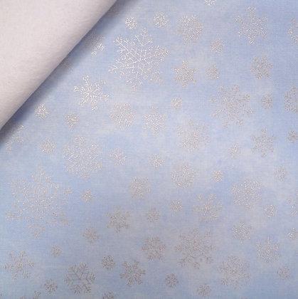 Fabric Felt :: Sparkle Snowflakes :: Ice Blue on White