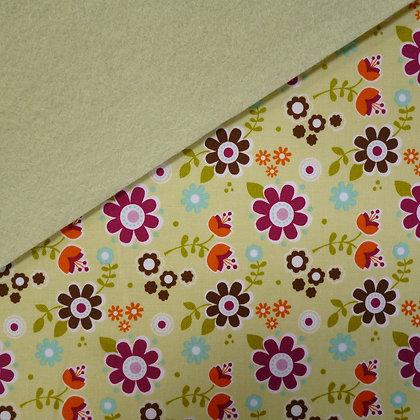 Fabric Felt :: Green Matroyshka Flowers on Pistachio