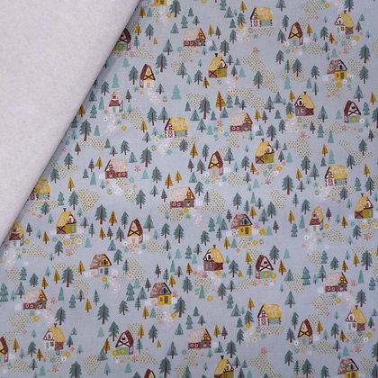 Fabric Felt :: Goldilocks :: Teal Forest Houses on Natural