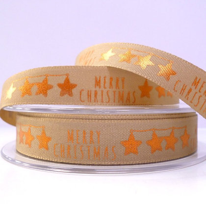 Foiled Merry Christmas Ribbon :: Bronze