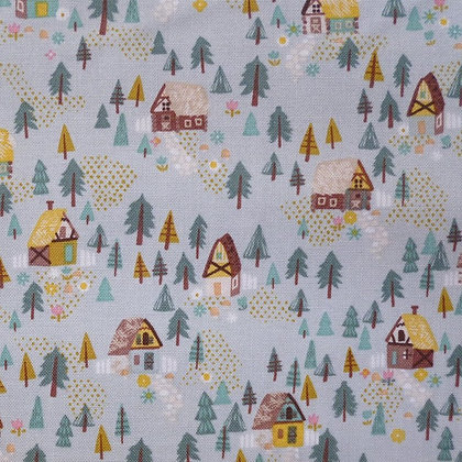 Fabric :: Goldilocks :: Teal Forest Houses