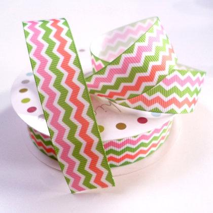 Pattern Grosgrain Ribbon :: RC Pink & Green Chevro