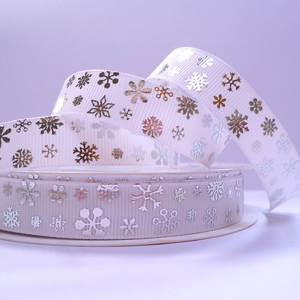 Foiled Grosgrain Ribbon :: Small Snowflake on White Wide