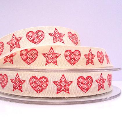 2017 Cotton Christmas Ribbon :: Red Stars & Hearts