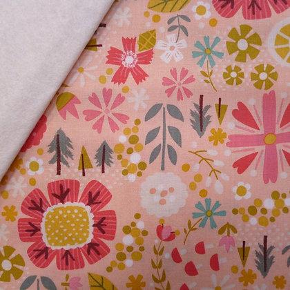 Fabric Felt :: Goldilocks :: Coral Flowers on Natural
