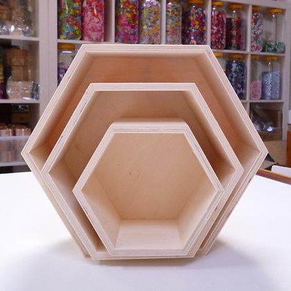 Wooden Storage :: Hexagon boxes x3