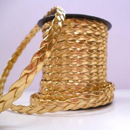 Faux Leather Plait :: Shiny Gold