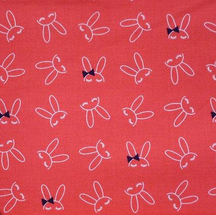 Fabric :: Bowtie Bunny :: Coral Bunnies