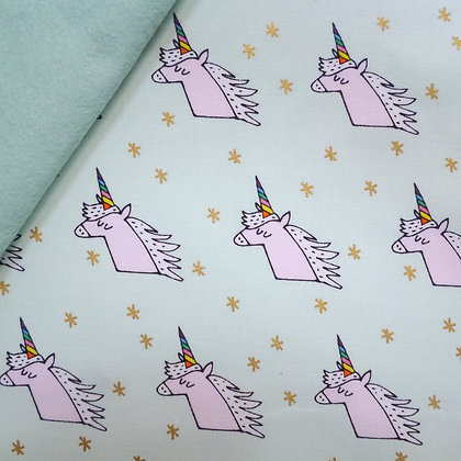 Fabric Felt :: Wide Rainbow :: Unicorns on Pale Mint