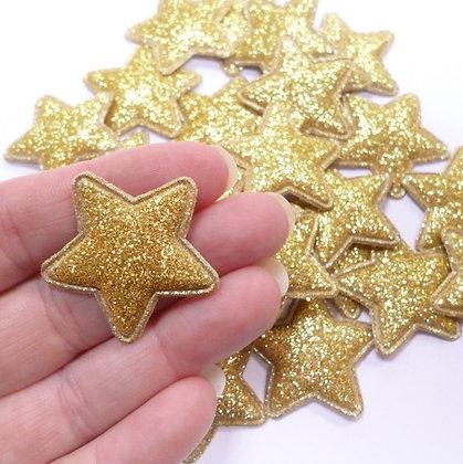 Fine Glitter Stars :: GOLD :: pack of 28