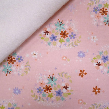 Fabric Felt :: Neverland Flowers :: Pink on Natural
