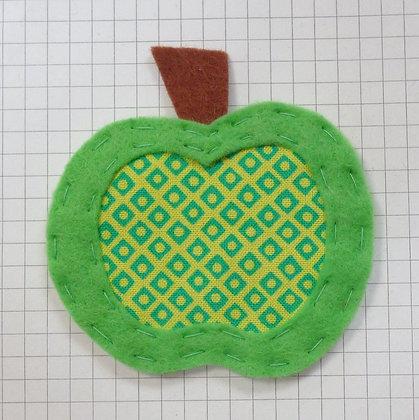 Lime & Teal Dot :: Apple :: Handmade Embellishment