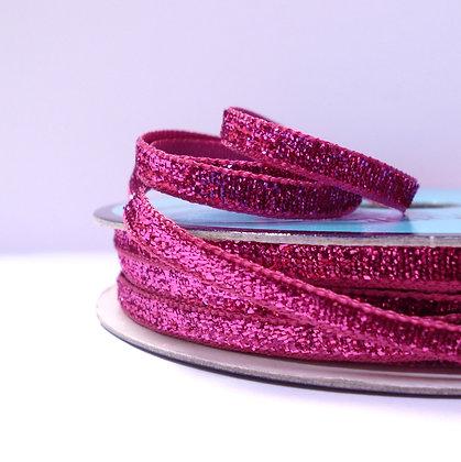 5mm Glitter Velvet Ribbon :: Bright Fuchsia