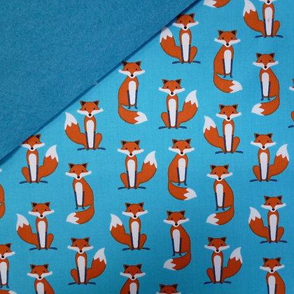 Fabric Felt :: Blue Fabulous Fox on Bright Blue