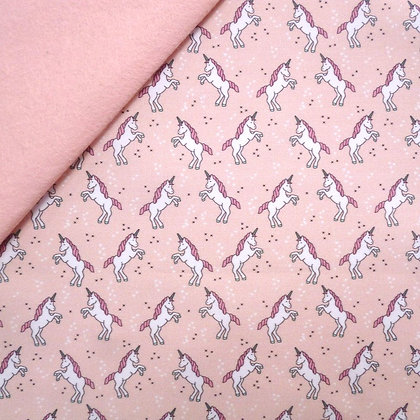 Artisan Fabric Felt :: Prancing Mini Unicorns on Blush