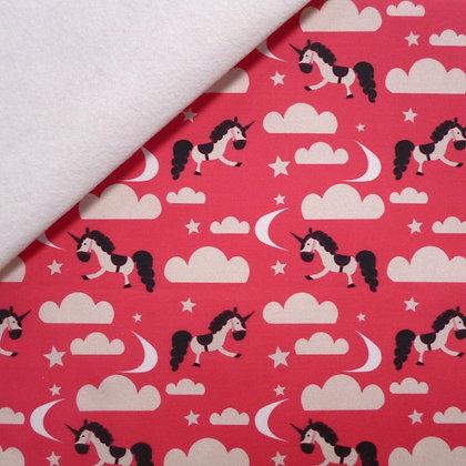 Artisan Fabric Felt :: Pink Unicorn Clouds on White