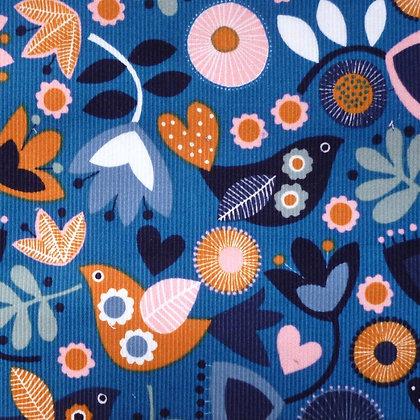 Fabric :: Corduroy :: Teal Flowers & Birds