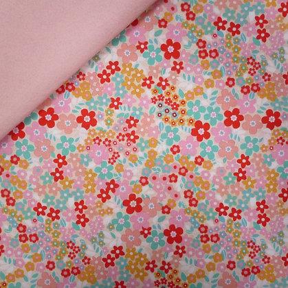 Fabric Felt :: Forget Me Not :: Pink Garden on Blush