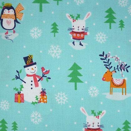 FQ SALE Fabric :: Merry Little Christmas :: Aqua Village FAT QUARTER