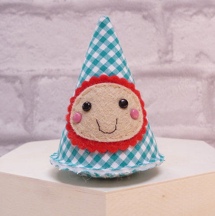 Handmade :: Fabric Felt Happy :: Aqua Gingham
