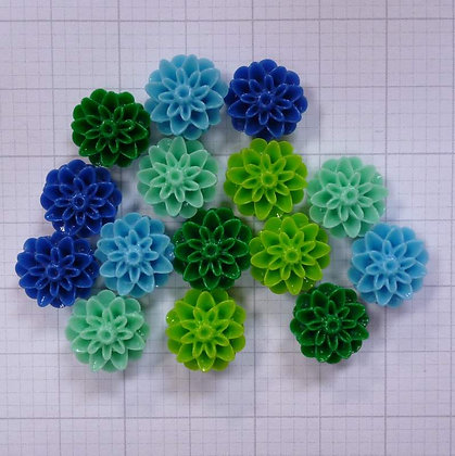 Shaped Flower Beads x15 Blues & Greens