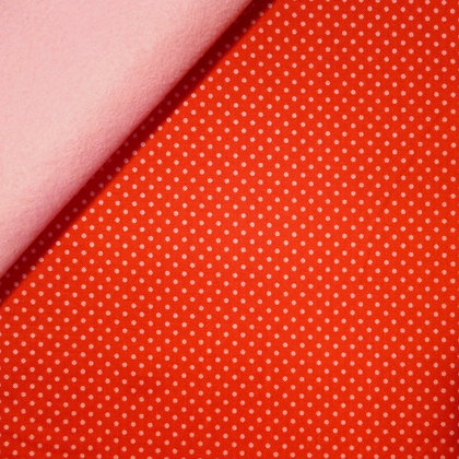 Fabric Felt :: Happy Day :: Pink Dots in Red on Baby Pink