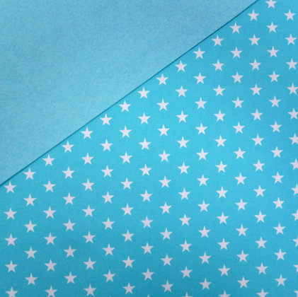 Fabric Felt :: Bright Blue + White Stars on Turquoise