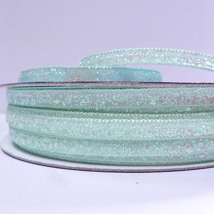 5mm Glitter Velvet Ribbon :: Mint