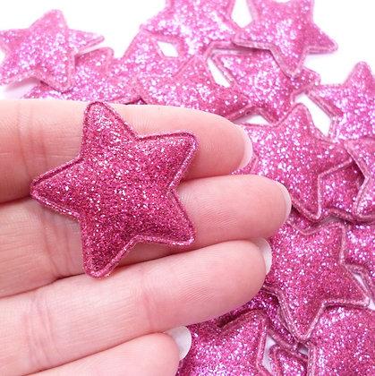 Fine Glitter Stars :: FUCHSIA :: pack of 28