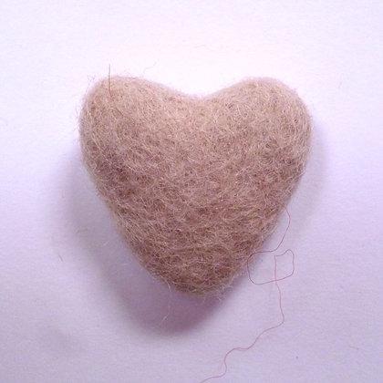 Felt Hearts 100% Wool :: Beige