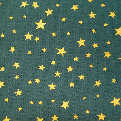 Fabric :: Wide :: Dark Green & Gold Stars