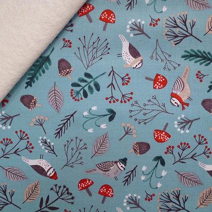 Fabric Felt :: Dream of Snow :: Teal Birds on Natural  LAST FEW
