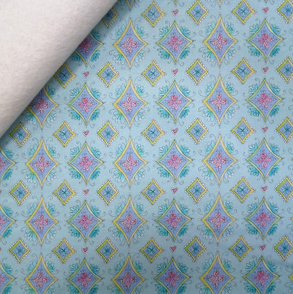 Fabric Felt :: Waltz of Whimsy :: Blue Charmed Diamonds on Natural