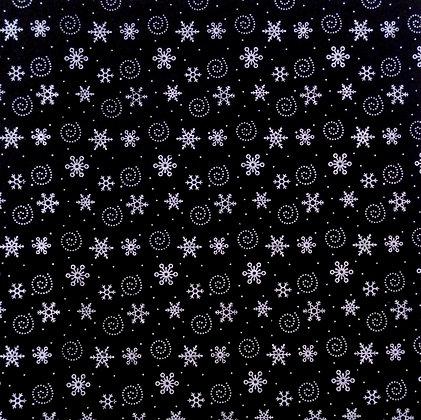 Spiral Snowflake Printed Felt Square :: Black