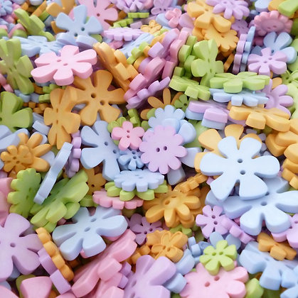 Buttons By Weight :: Pastel Flowers :: 50g bag