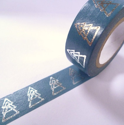 Washi Tape Roll :: Silver Trees on Blue