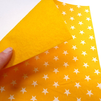 Fabric Felt :: Yellow + White Stars on Yellow