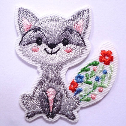 Embroidered Motif :: Red Flowers :: Fox