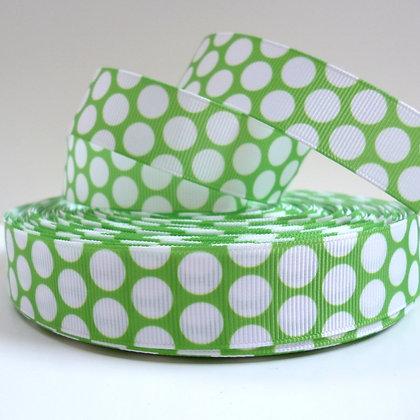 Big White Dot Ribbon :: Bright Green