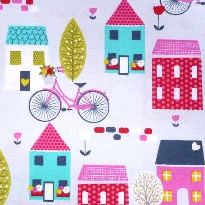 SALE Fabric :: Around Town :: Bikes & Houses
