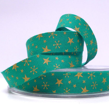 2017 Cotton Christmas Ribbon :: Gold Stars on Green