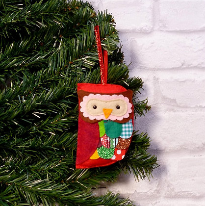 Fancy Owl :: Traditional Christmas :: made to order