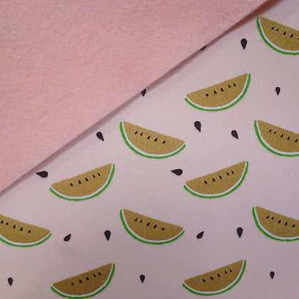 Fabric Felt :: Gold Tropical Watermelons on Blush