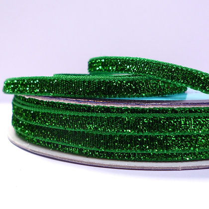 5mm Glitter Velvet Ribbon :: Emerald